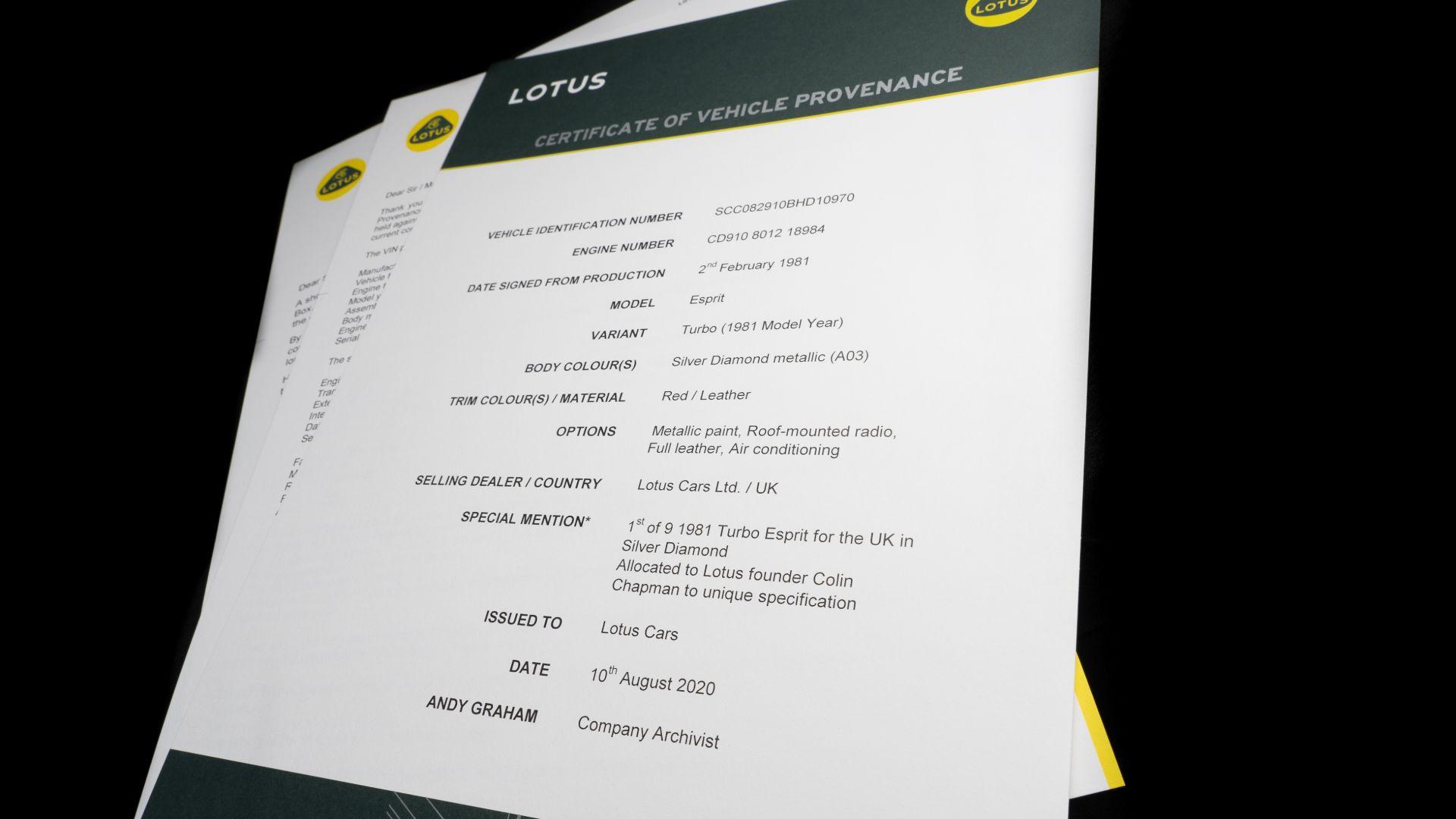 Lotus Certificate of Provenance